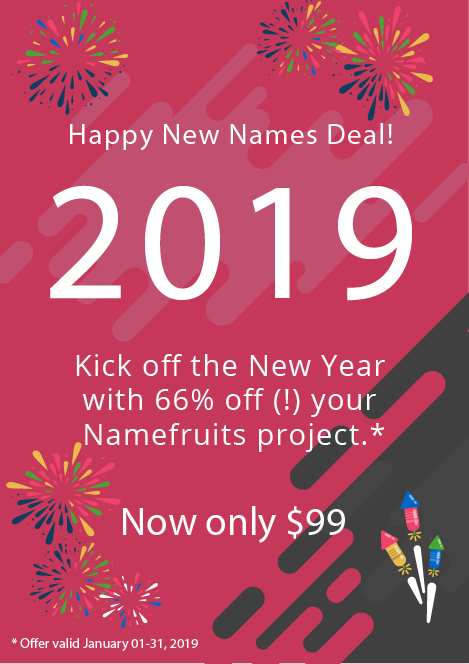Namefruits Deal 2019!